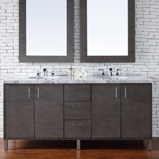 Cordie 72 Double Silver Oak Marble Top Bathroom Vanity Set by Orren Ellis
