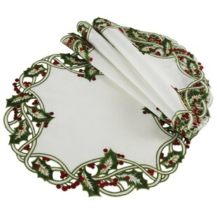 Holiday Holly Embroidered Cutwork Round Christmas Doily (Set of 4)
