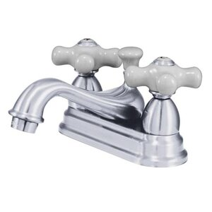 Restoration Double Handle Centerset Bathroom Sink Faucet with Brass Pop-up