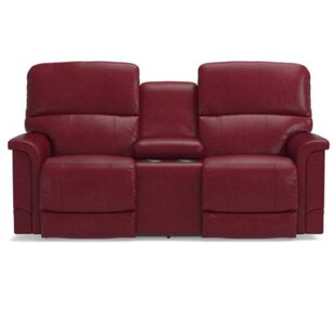 Shop Oscar Leather Reclining Loveseat with Console by La-Z-Boy