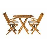 Stansell 3 Piece Teak Sunbrella Bistro Set with Cushions