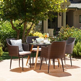 George Oliver Isaac Outdoor 5 Piece Dining Set with Cushions