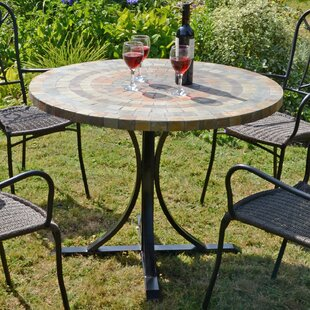 Yvette Stone/Steel Dining Table By Sol 72 Outdoor