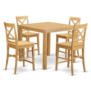 East West Furniture Cafe 5 Piece Counter Height Pub Table Set