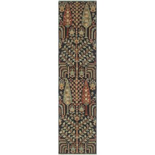 Check Prices Woodmoor Chobi Hand Knotted Wool Black Area Rug ByLoon Peak