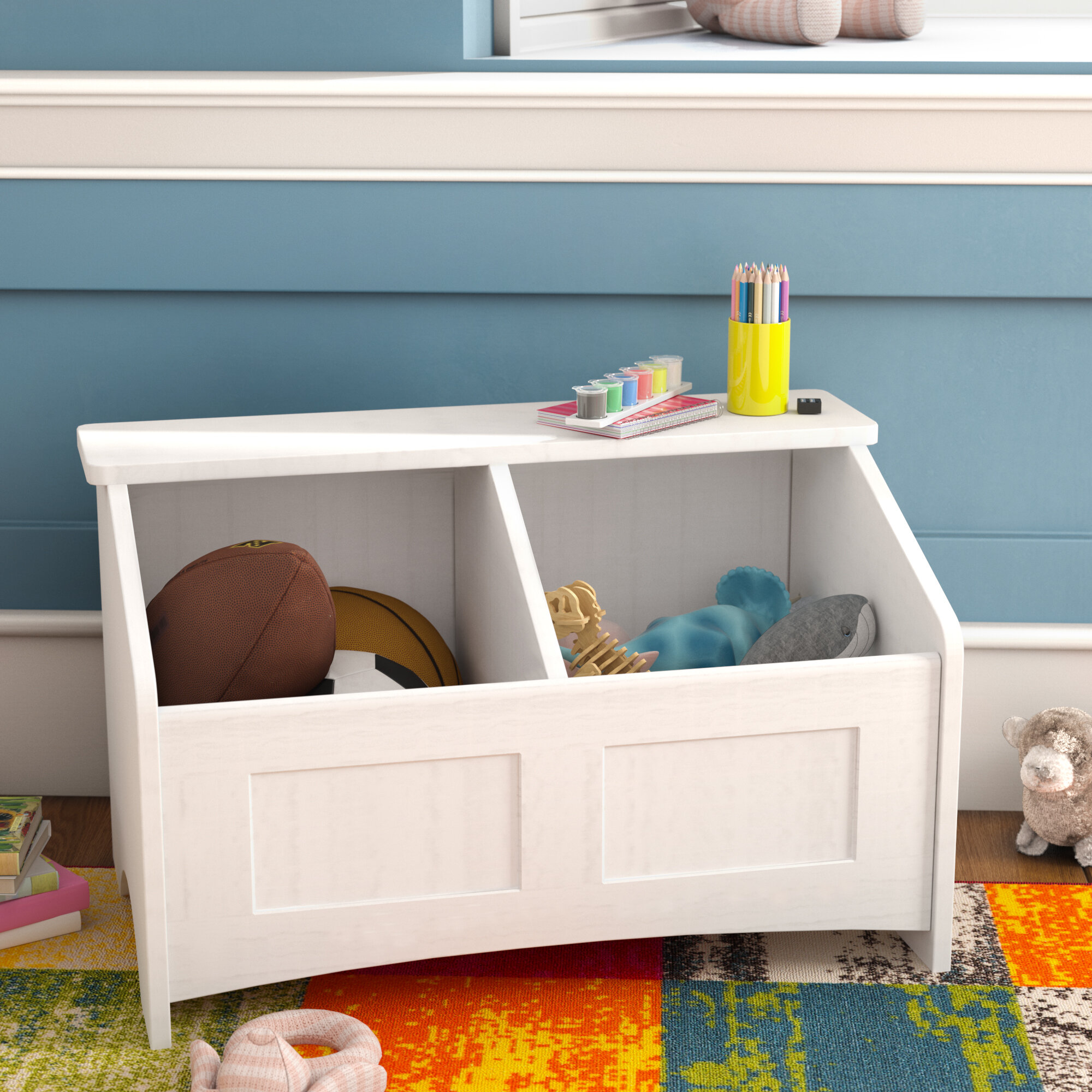 christiana toy box with section divider