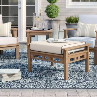 Calila Outdoor Teak Ottoman with Cushion by Birch Lane™ Heritage