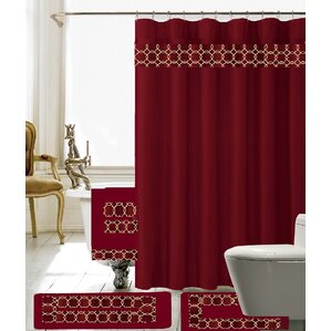 Austyn 18 Piece Embroidery Shower Curtain Set