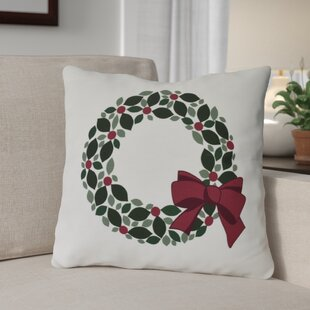 Holly Wreath Floral Print Outdoor Throw Pillow