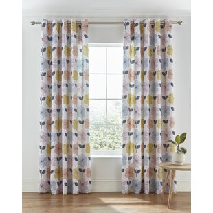 Retro Floral Easy Care Eyelet Room Darkening Curtains Set Of 2