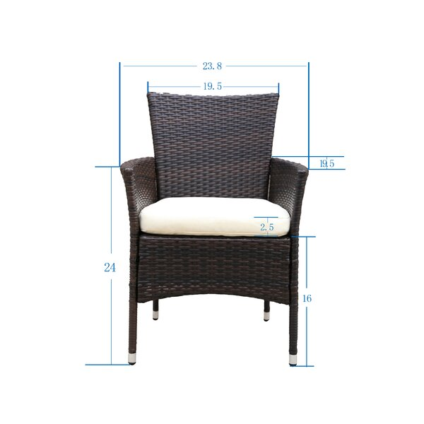 2pcs Patio Rattan Armchair Seat With Removable Cushions