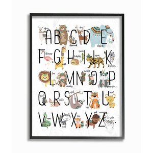 Boho Animal ABCs Giclee Texturized Framed Art