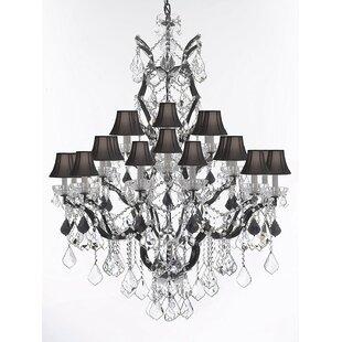 Astoria Grand Quillen 25-Light Shaded Chandelier