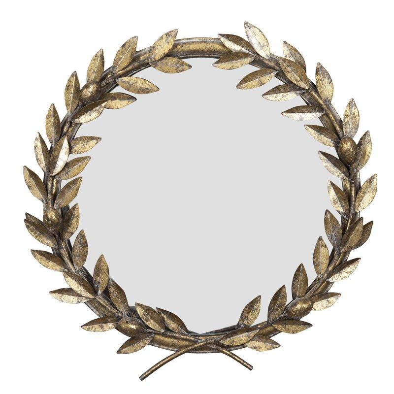 Kaelin Round Laurel Wreath Industrial Accent Mirror