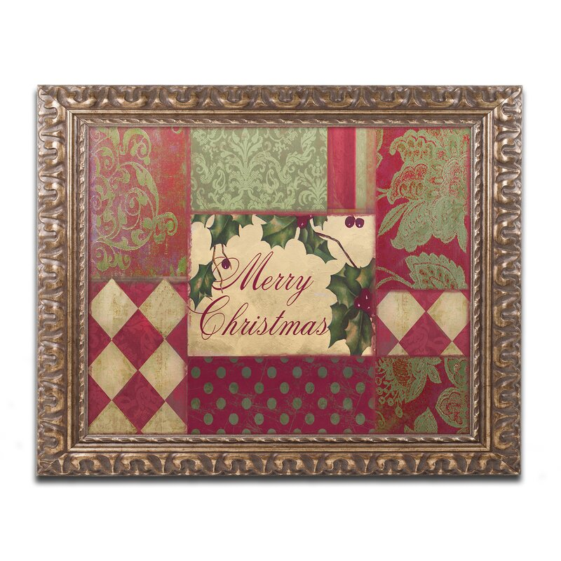 Patchwork Wall Decorations - 'Merry Christmas Patchwork I' Framed Graphic Art