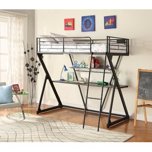 Breaux Metal Twin Loft Bed with Bookcase