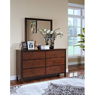 Bynum 6 Drawers Double Dresser with Mirror