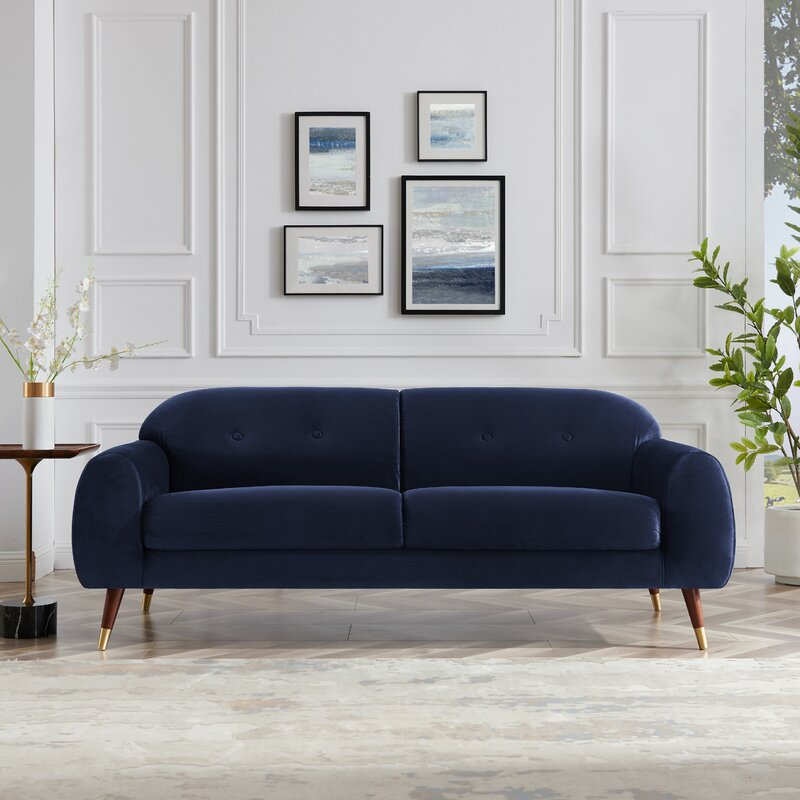 """Hadia 78.7"""" Wide Flared Arms Reception Velvet Sofa In Dark Curry"""