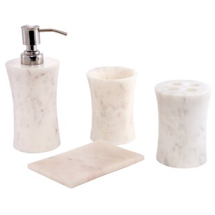 Contemporary Natural Stone Made 4 Piece Bathroom Accessory Set ByCITY LINE COLLECTION