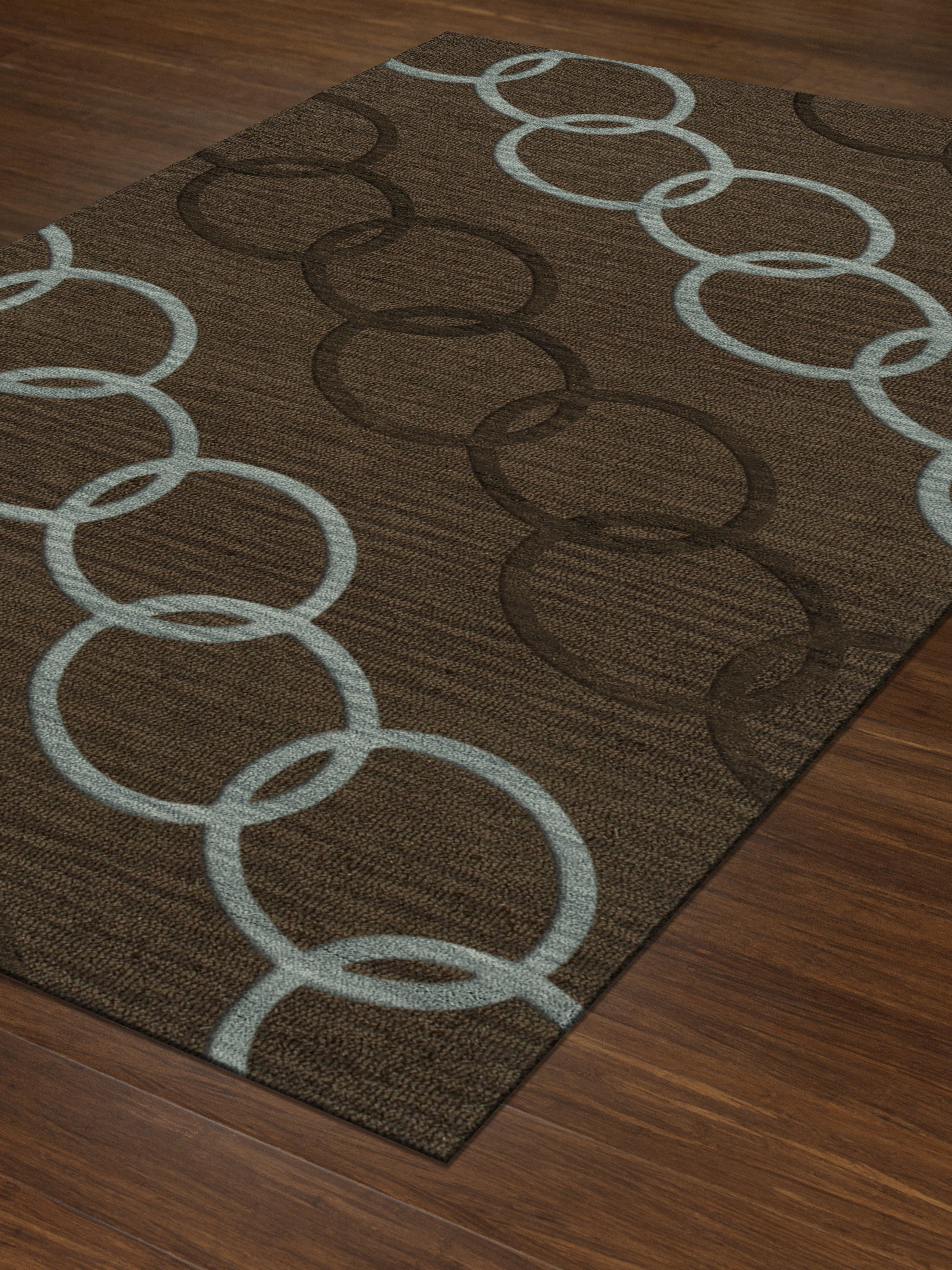 Latitude Run Garney Machine Woven Wool Brown Area Rug Wayfair