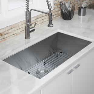 Review Zero Radius 32 L x 19 W Kitchen Sink by Ticor Sinks