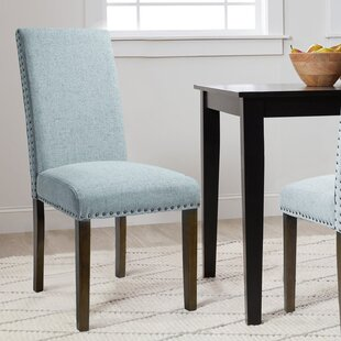 Moby Upholstered Parsons Chair in Blue Set of 2