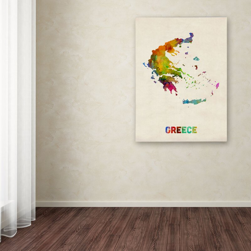 Trademark art greece watercolor map by michael tompsett graphic greece watercolor map by michael tompsett graphic art on wrapped canvas gumiabroncs