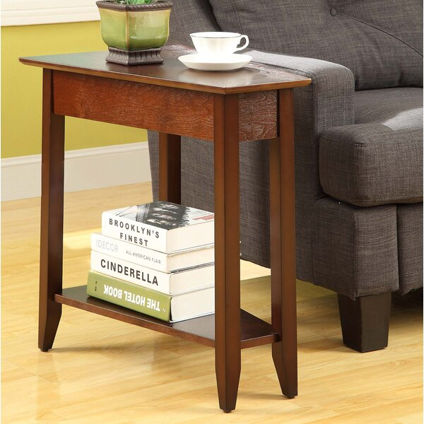 Black Walnut End Table Wedge Oval Coffee Side Night Stand Small Round Wooden Den