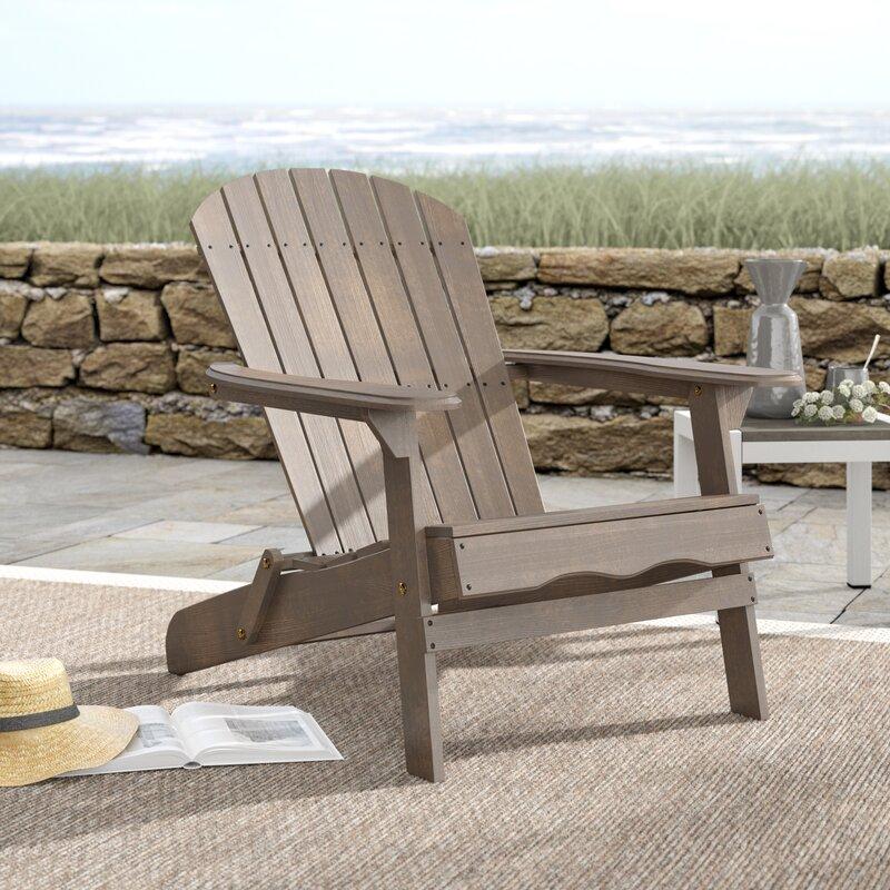 Birch Lane Ridgeline Solid Wood Folding Adirondack Chair