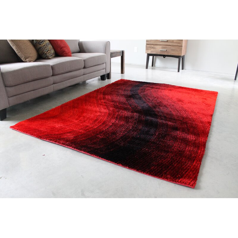 Orren Ellis Feitoza Red Black Area Rug