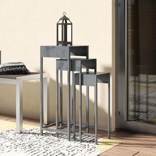 Reatha Contemporary Iron 3 Piece Square Nesting Plant Stand Set