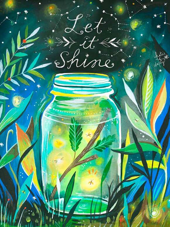 """Let It Shine - Jar"" by Katie Daisy. Happy LOVE Day, Lovelies! Poetry, handlettered art, and colorful Valentine's Day finds await on Hello Lovely Studio!"
