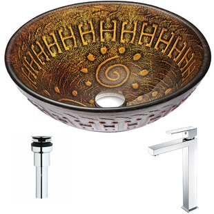 Reviews Opus Glass Circular Vessel Bathroom Sink with Faucet By ANZZI