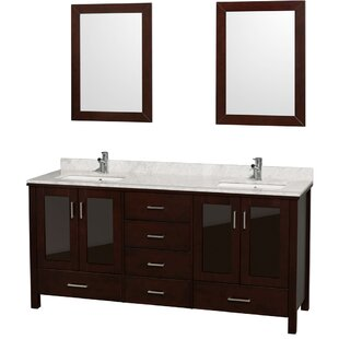 Price Check Lucy 72 Double Bathroom Vanity Set with Mirror ByWyndham Collection