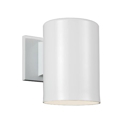 Orren Ellis Creissant 1-Light Metal Shade Wall Outdoor Sconce Finish: White