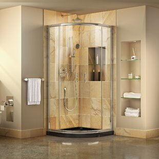 Prime 33 inch  x 74.75 inch  Round Sliding Shower Enclosure with Base Included