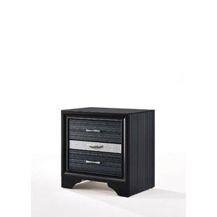 Mercer41 Singer Wooden 3 Drawer Nightstand