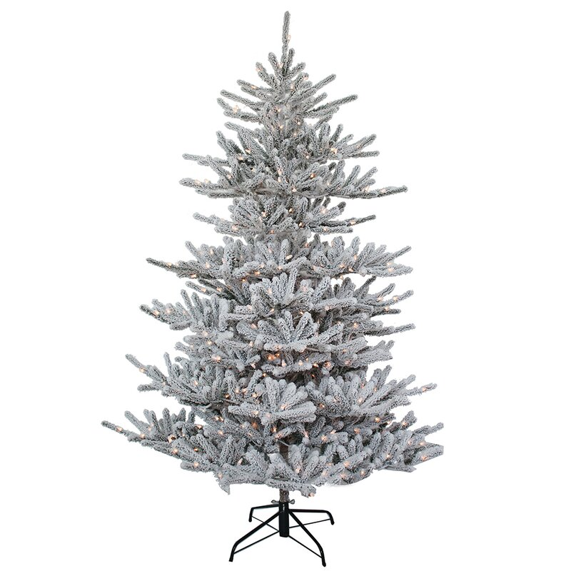Kurt Adler Pre Lit Flocked 3 Silver Pine Artificial Christmas Tree With 100 Warm White Lights Wayfair
