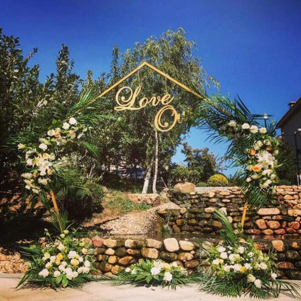 Oukaning Wedding Arch Backdrop Stand 2 5m 8ft Metal Wedding Archway Iron Frame Photo Booth Background Props Decorative Support Balloon Stand Gate For Wedding Ceremony Reception Party Events Gold Wayfair Ca