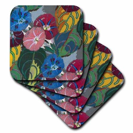 3dRose Ceramic Tile Coasters - Art Deco Colorful Flowers - set of 4 (cst_26031_3)