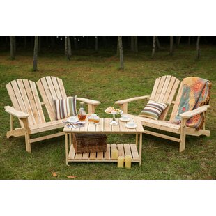 Loon Peak Ogrady 3 Piece Double Adirondack Chair and Table Set