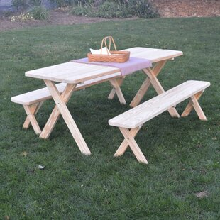 Sherburne Pine Cross-leg Picnic Table with 2 Benches