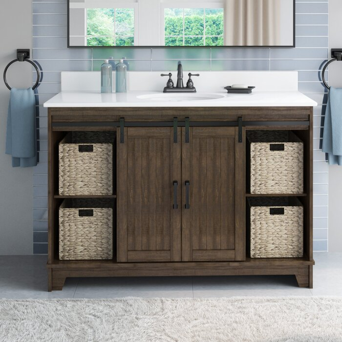 Trogdon Sliding Barn Door 49 Single Bathroom Vanity Set