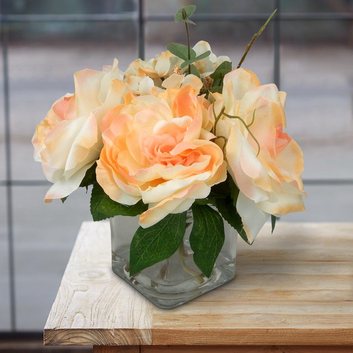 Rosdorf Park Classic English Rose Garden Centerpieces In Vase