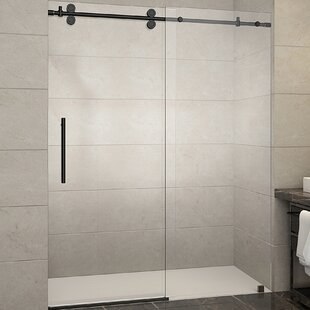Read Reviews Langham 60 x 75 Single Sliding Frameless Shower Door By Aston