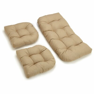 3 Piece Indoor/Outdoor Bench and Dining Chair Cushion Set Fabric: Sandstone