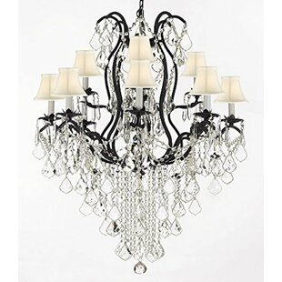 Rosdorf Park Clemence Wrought Empress 12-Light Shaded Crystal Chandelier