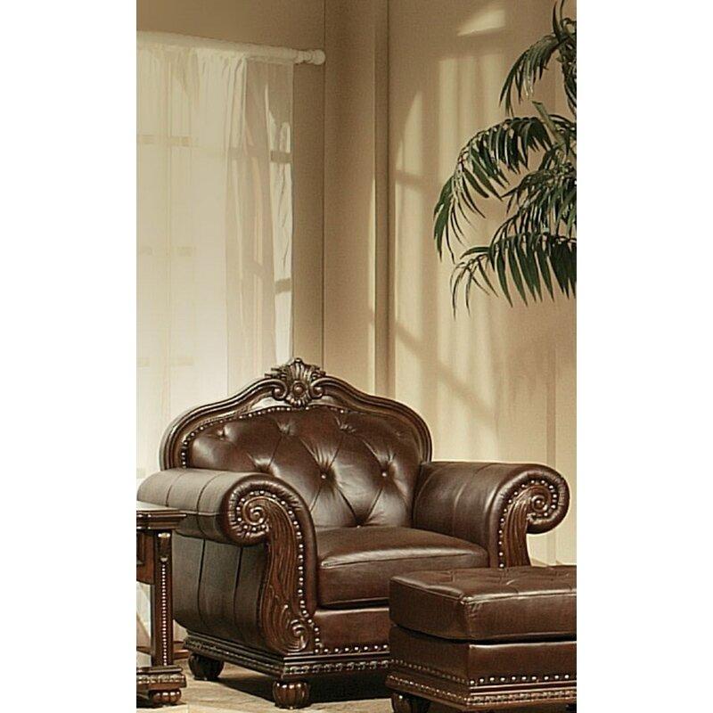 Astoria Grand Mejia 47 W Tufted Leather Match Armchair Wayfair