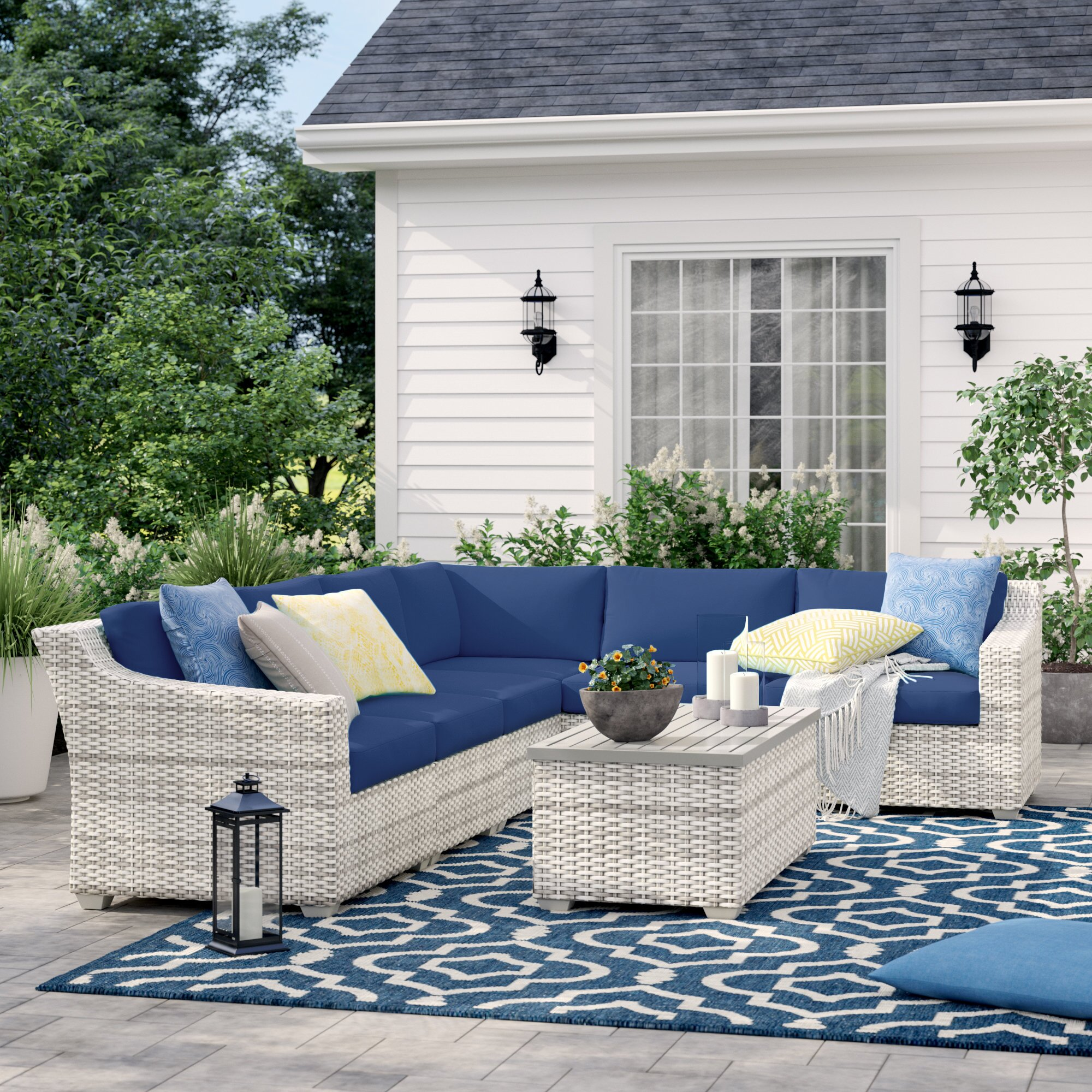 Sol 72 Outdoor Falmouth 7 Piece Rattan Sectional Seating Group With Cushions Reviews Wayfair