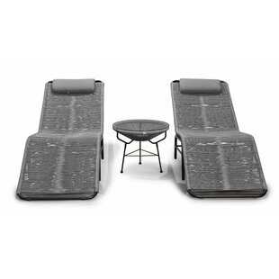 Acapulco 3 Piece Chaise Lounge Set with Table By Harmonia Living